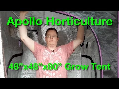 """Apollo Horticulture 48""""x48""""x80"""" Mylar Hydroponic Grow Tent - Unboxing and setup"""