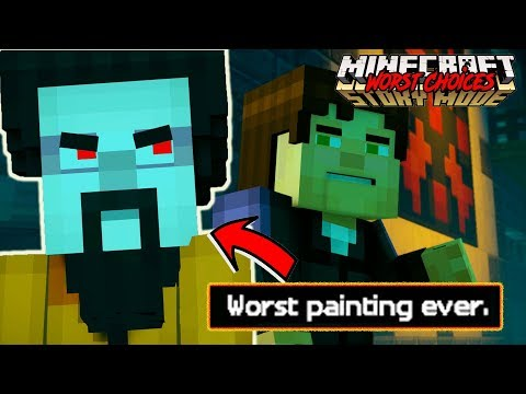 HAPPY PAINTER HATES JESSE!! -- WORST CHOICES in Minecraft Story Mode Episode 3 {Jailhouse Block} (1)
