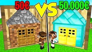 CASA IN SCATOLA DA 50€ contro CASA IN SCATOLA DA 50.000€ su MINECRAFT!