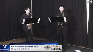 DUO H. XING & R. GUANG play 4 Crazy Etudes by N. Prost #adolphesax