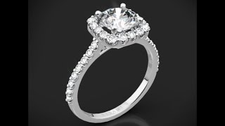 Ritani 1RZ1321 French Set Cushion Halo Diamond Engagement Ring