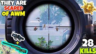 Enemies Got Scared of My AWM Sniping in PUBG Mobile • (28 KILLS) • PUBGM (HINDI)