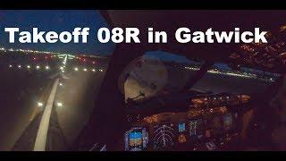 Boeing 737-800 Cockpit Night Takeoff In Gatwick