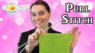 How To Knit The Purl Stitch For Beginners - Dishcloth Pattern & Tutorial