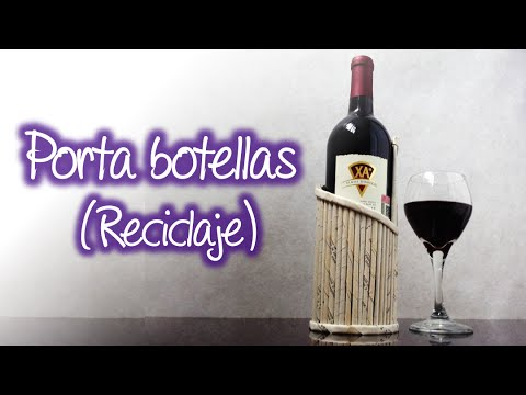 Porta botellas de vino con materiales reciclados