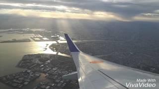 台風8号が接近する羽田空港を離陸するANA737-800機窓からNH85便34R強風離陸