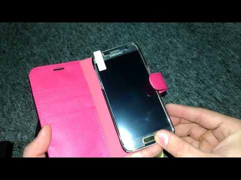 Samsung Galaxy S7 pinke Handy Klapp Hülle inklusive Panzerglas