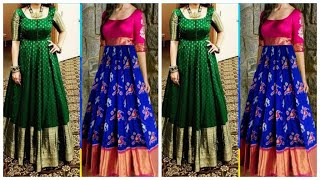 Saree Dress /Saree Pattern Long Gown Dress/ Convert Pattu Sarees Into Long Dress