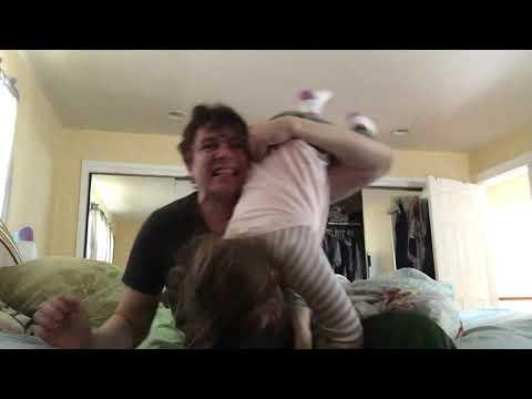 Carolyn and Dad wrestling match!