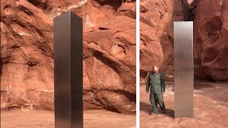 video: Watch: Metal monolith discovered in Utah desert sparks mystery