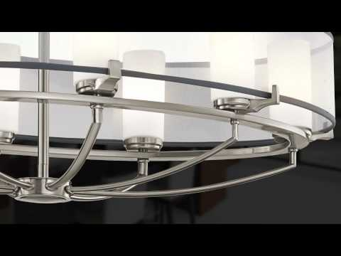 Video for Saldana Classic Pewter Convertible Three-Light Pendant