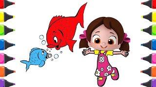 Niloya Çizgi Filmi Kırmızı Balık Çocuk Şarkısı Boyama Renkleri Öğreniyorum