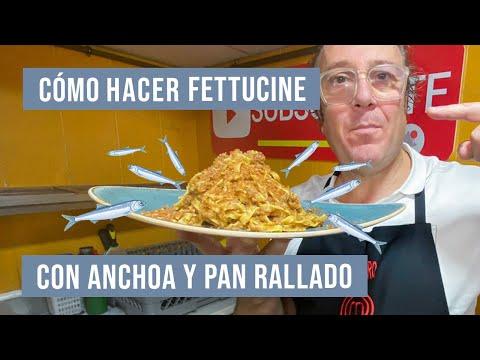 ¿Cómo hacer FETTUCINE con ANCHOA y Pan Rallado?  Receta Italiana