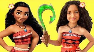Princess MOANA MAKEUP Tutorial For Kids & Costume Disney Princess, Sofia Plays With Toys For Girls