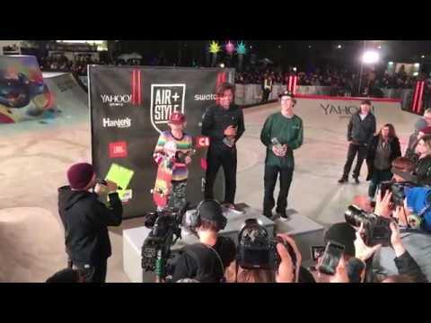 Heimana Reynolds skatepark winning run Air+Style Los Angeles 2018