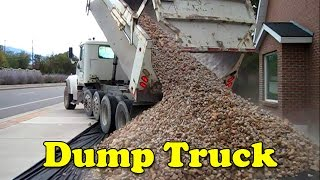 Landscaping Dump Truck Unloading Rocks - Girls