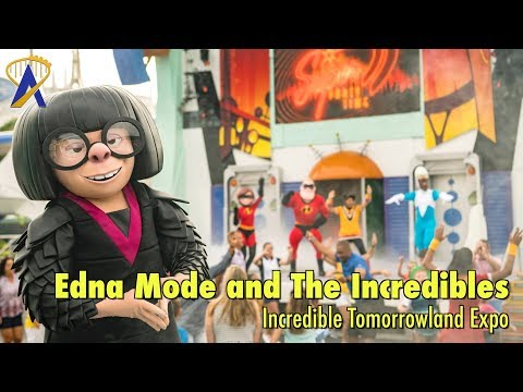 Edna Mode and The Incredibles dance with guests at the Incredible Tomorrowland Expo at Magic Kingdom