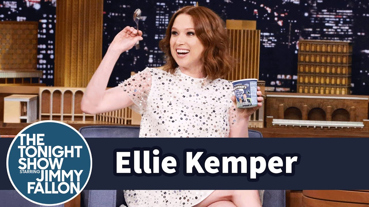 Ellie Kemper Celebrates Her Pregnancy with Tonight Dough Ice Cream thumbnail