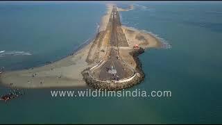 Ram Setu bridge, last tip of India's land before Sri Lanka : Dhanushkodi Pamban Island aerial view