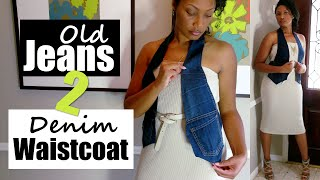 How To Turn Old Jeans Into A Denim Waistcoat Vest (No Sew) + Summer To Fall Lookbook | Blueprint DIY