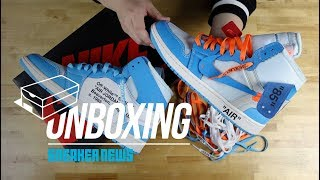 "timeless design dea8c 0377e Off White Air Jordan 1 ""unc"" Unboxing + Review"