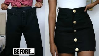 DIY Button Up Denim Skirt | Jeans Transformation