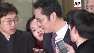 Samsung heir arrives for court hearing on arrest
