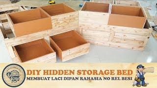 Membuat Laci Penyimpanan RAHASIA Dipan Tanpa Rel Besi | DIY Pine Wood Bed With Hidden Storage PART 2