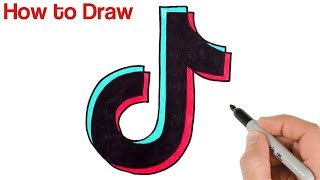 How to Draw Tik Tok Logo Easy for Beginners