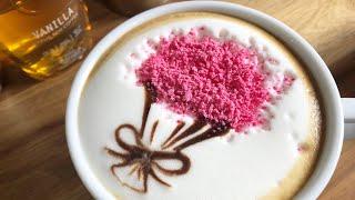 How to make Cherry Blossom flower bouquet latte art