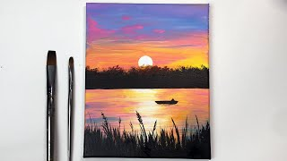 Colorful Sunset | Easy Sunset Acrylic Painting Tutorial Step By Step