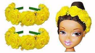 ОБОДОК С РОЗАМИ. Как сделать ободок с розами своими руками мастер класс. Hair ring with roses DIY.