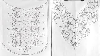 6 Neck Hand Embroidery Pattern For Dress, Embroidery Pattern,Drawing Tutorial,गर्दन डिजाइन पैटर्न