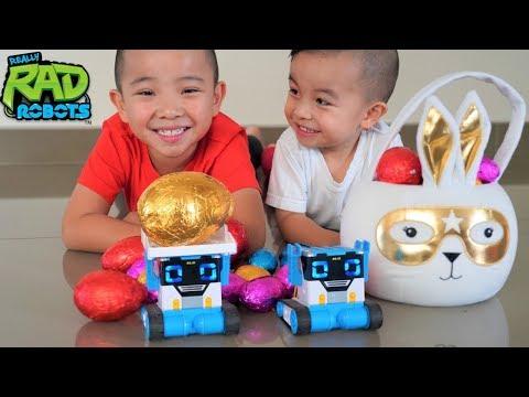 Chocolate Easter Egg Hunt With MiBro Robot PRANK and SPY Fun CKN Toys