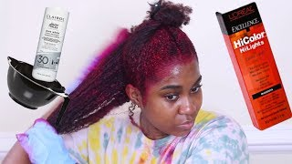 How I Dye My Natural Hair Burgundy | With No Bleach