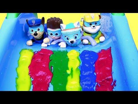 Paw Patrol Bathtime Paint Slide Underwater Swimming Pool Party LEARN COLORS Bath Paint Disney