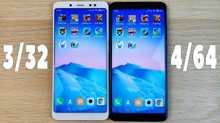 Xiaomi Redmi Note 5 3/32 vs 4/64 - ТЕСТ СКОРОСТИ И ОЗУ