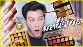 """Hey guys! Whos ready for a brand new TESTING new over hyped af makeup! We have so much stuff! KKW beauty, Huda beauty, Maybelline, Dose of Colors, Morphe, ETC! So I thought it would be fun to make another video testing some HYPED AF stuff!  I know yall like when I read these brands to filth so..... that is what I did hahaha  BUY LIFES A DRAG HERE - https://lunarbeauty.com/collections/shop/products/lifes-a-drag-palette  SNAPCHAT - Mannymua If you wanna join the Mannyac family... Subscribe to my Channel here - http://goo.gl/fLSvRP  Facebook - http://goo.gl/6hx6Pt Instagram - http://instagram.com/mannymua733 Twitter - https://twitter.com/MannyMua733  Brushes Used - USE CODE MANNYMUA TO SAVE AT ALL MORPHE STORES AND ONLINE!  R1 Pointed Large Face Brush - https://bit.ly/2qj1cBA M433 Blending Brush - https://bit.ly/1NQ4rXT R39 Blending Brush -  http://bit.ly/2gTqjJj M504 Large Fluffy Blending Brush - https://bit.ly/29DmOS6 M421 Flat Concealer Brush - https://bit.ly/1WzyXKG M210 Flat Packing Brush - https://bit.ly/1OdvbPi E36 Small Pencil Brush -  http://bit.ly/1WPSqHb  ———————————————————————————————————————————————————————  AFFILIATES!  I SERIOUSLY appreciate it so much when you guys use my codes and links :D means a lot to me guys. Thank you for always supporting me!   Morphe Brushes - use code """"MANNYMUA"""" all caps for 10% off everything! - http://morphebrushes.com/index.php  Ardency Inn - Use code MANNYMUA to save 15% off - https://www.ardencyinn.com  Jouer - Use code MANNYMUA to save 15% off - https://www.jouercosmetics.com  Ofra x MannyMua Lipsticks - ofracosmetics.com/mannyxofra  Use code Mannymua to save you 30% off entire site! :D  Artist Couture - Use code MANNYMUA to save 15% off! - http://www.artistcouture.com  Nubounsom Lashes - use code """"MANNYMUA"""" for 20% off! - http://nubounsom.com  Lilly Lashes - use code """"MANNYMUA"""" for %10 off! - https://lillylashes.com/  Impressions Vanity - use code """"MANNYMUA' for 10% off - https://impressionsvanity.com/   ---------------"""