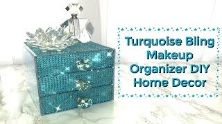 Before & After Fast Easy 💎Turquoise Bling Makeup Organizer💎 DIY Dollar Tree