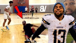 Mikey Williams Plays Pickup w/ Chargers BEAST WR Keenan Allen! (ANKLES OR SLIPPERY FLOOR?🤔