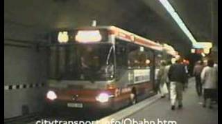 preview picture of video 'Kerb guided trolleybus & tram at Essen's Berliner Platz stn (2)'