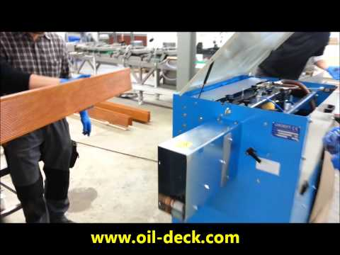OSMO oil for decking with Paoloni machine in Axel wirth warehouse - Bangkirai Öl