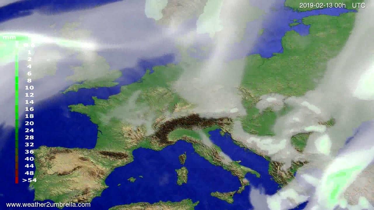 Precipitation forecast Europe 2019-02-11