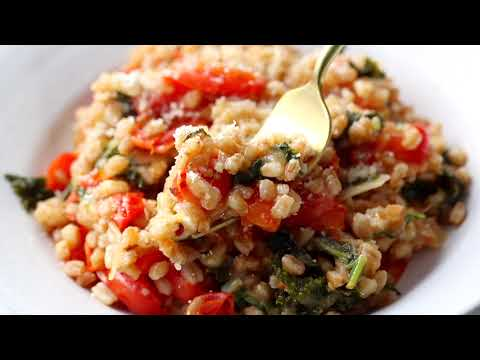 , title : 'One-Pan Farro with Tomatoes and Kale
