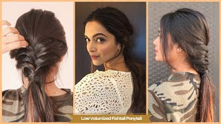 Easy Low Messy Fishtail Ponytail Hairstyle /Medium Hair Hairstyle/Inspired By Deepika Padukone
