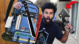 We Built DIY ZOMBIE APOCALYPSE SURVIVAL Bags Using Only Things From Dollar Tree!! ($50 CHALLENGE!!)