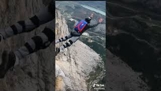 base jump from a cliff in Italy #montebrento #basejumping #dream