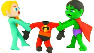 SUPERHERO BABIES WANT TO WEAR THE INCREDIBLES SUIT ❤ SUPERHERO PLAY DOH CARTOONS FOR KIDS