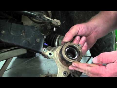 Pt.1 Suzuki LTA400F How To Replace The Front Wheel Bearings At D-Ray's Shop!