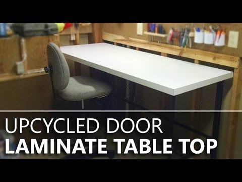 Making a laminate tabletop from an old door